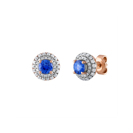 Estate 18k Rose Gold Diamond + Sapphire Earrings I