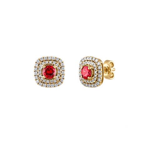 Estate 18k Yellow Gold Diamond + Ruby Earrings II
