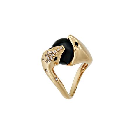 Vintage Boucheron 18k Yellow Gold Onyx Diamond Ring // Ring Size: 5