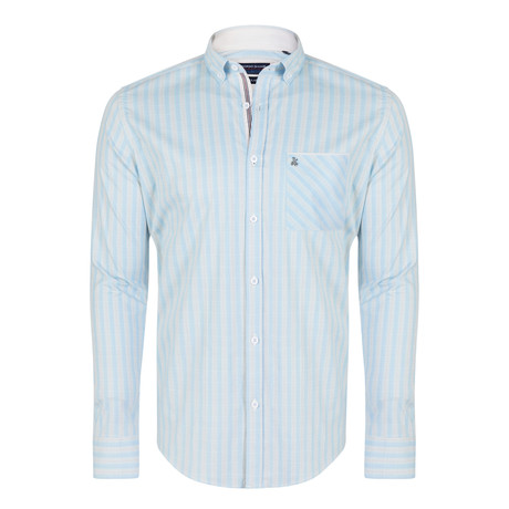 Franco Shirt // Blue + Beige (XS)