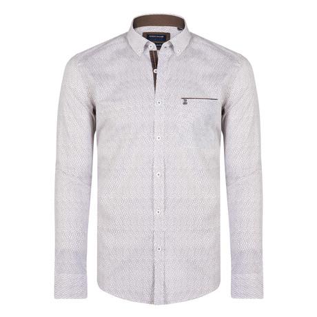Dallas Shirt // White + Brown (XS)