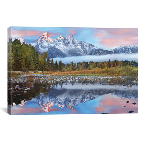 "Grand Tetons Reflected In Lake, Wyoming I // Tim Fitzharris (26""W x 18""H x 0.75""D)"