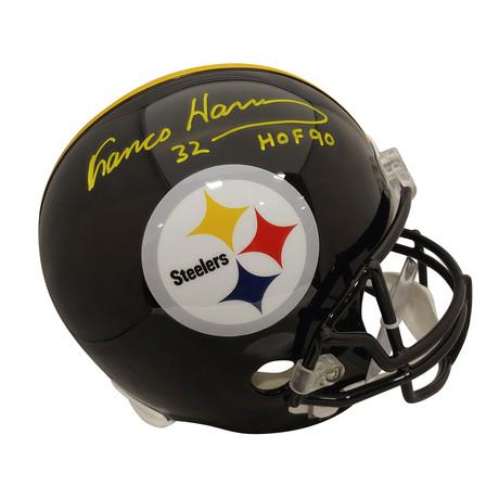 """Signed Full Size Rep Helmet + Black Facemask // Steelers Franco Harris """"HOF 90"""""""