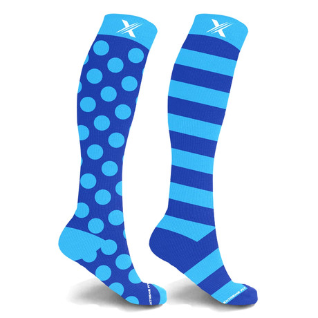 Mismatched Azure Knee High Compression Socks // 1-Pair (Small / Medium)
