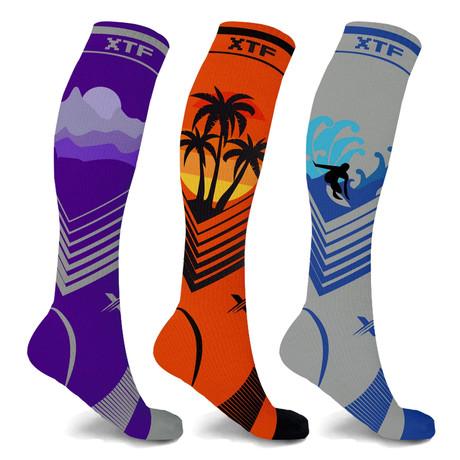 California Dreams Knee High Compression Socks // 3-Pairs (Small / Medium)