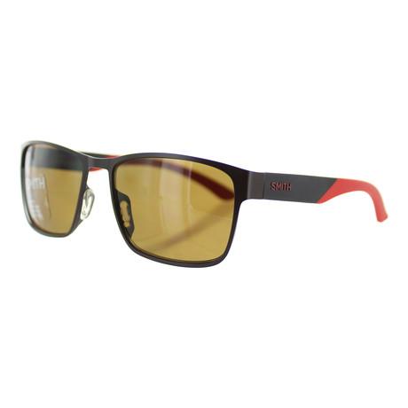 Smith // Unisex Square Sunglasses // Dark Ruthenium + Green
