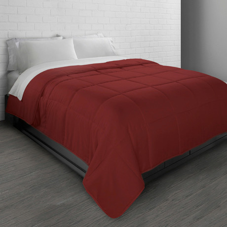 All-Season Triple Brushed Microfiber Down-Alternative Comforter // Brick Red (Twin)