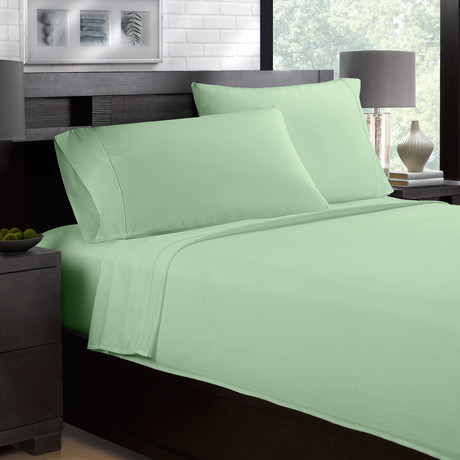 Sateen Smooth & Silky 4-Piece Sheet Set // Olive (Full)