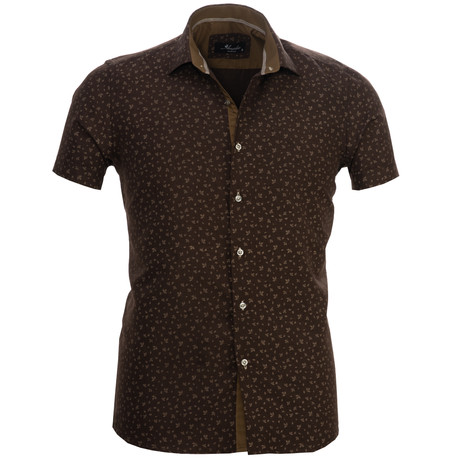 Floral Short Sleeve Button Down Shirt // Chocolate Brown (S)