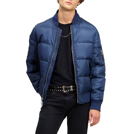 Down Quilted Bomber // Ocean (XS)