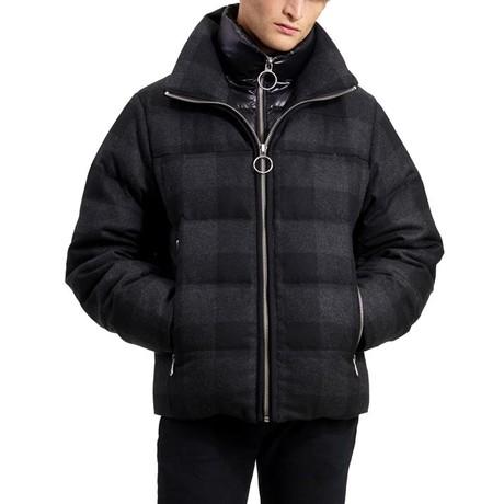 Down Wool Puffer // Black + Charcoal Plaid (XS)