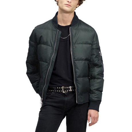 Down Quilted Bomber // Evergreen (XS)