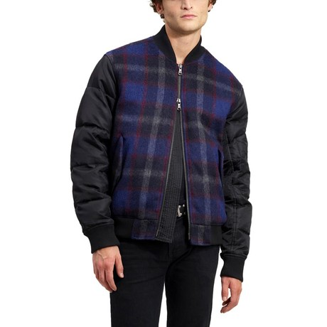 Multimedia Wool Bomber // Navy + Red + Black Plaid (XS)