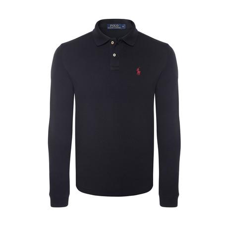 Long Sleeve Polo Shirt // Black (S)