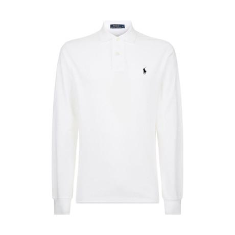 Long Sleeve Polo Shirt // White (S)