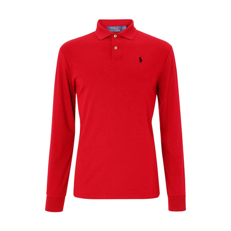 Long Sleeve Polo Shirt // Red (S)