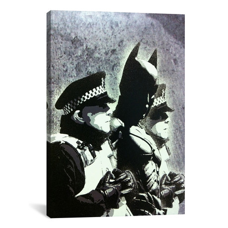 """Batman and The Police // Banksy (26""""W x 18""""H x 0.75""""D)"""