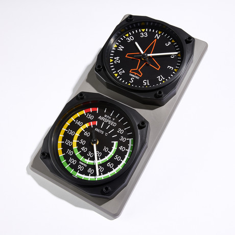 Classic Directional Gyro-Airspeed Clock + Thermometer Set