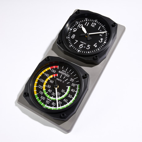 Classic Cockpit Clock-Airspeed Clock + Thermometer Set