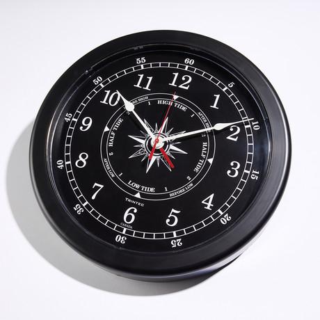 "Atlantic Marine Time + Tide Clock // Black (10""Dia)"