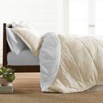 Premium Hypoallergenic Reversible Comforter & Sham Set // White + Ivory (Twin)