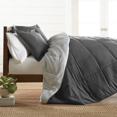Premium Hypoallergenic Reversible Comforter & Sham Set // Gray + Light Gray (Twin)