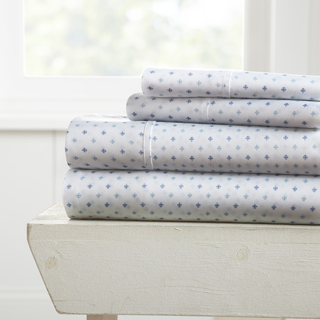 Superior Softness Patterned Sheet Set // 4 Piece // Fleur-de-lis (Twin)