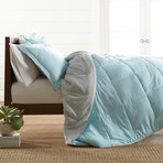 Premium Hypoallergenic Reversible Comforter & Sham Set // Aqua + Light Gray (Twin)