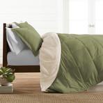 Premium Hypoallergenic Reversible Comforter & Sham Set // Sage + Ivory (Twin)
