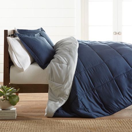 Premium Hypoallergenic Reversible Comforter & Sham Set // Navy + Light Gray (Twin)