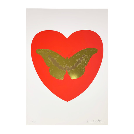 Damien Hirst // I Love You - Red/Oriental Gold/Cool Gold // 2015