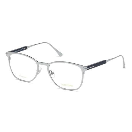 Unisex Rectangular Eyeglasses // Silver Navy