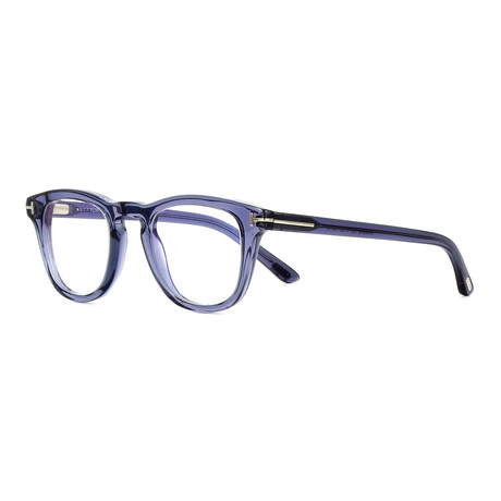 Unisex Square Eyeglasses // Blue Transparent