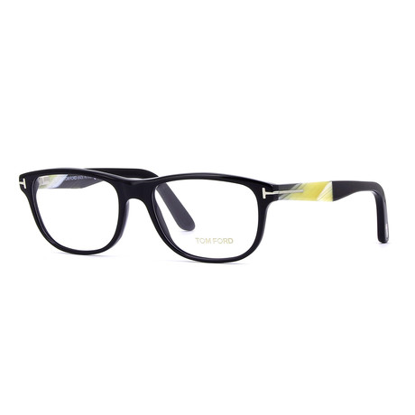Unisex Rectangular Eyeglasses // Black Horn + Clear