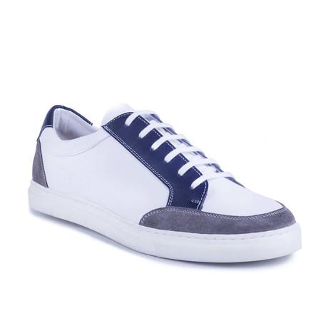 Narol Leather Sneakers // White + Blue (Euro: 39)