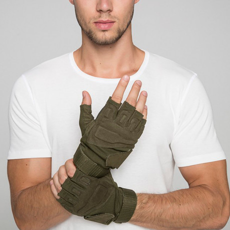 Tactical Half Finger Gloves // Olive (M)