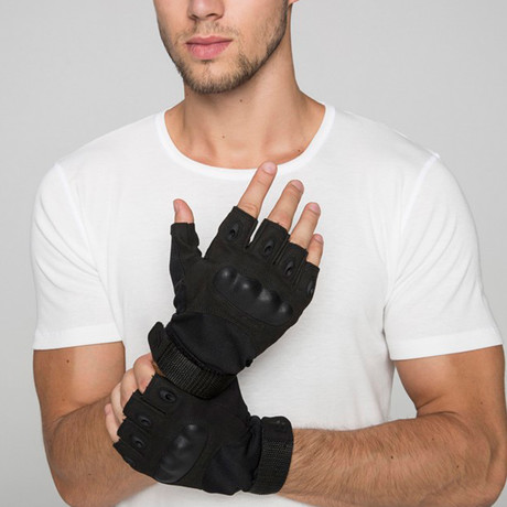 Yellowstone Fingerless Gloves // Black (M)