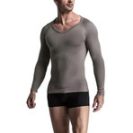 Men's Compression Long Sleeve Shirt // Gray (Small)