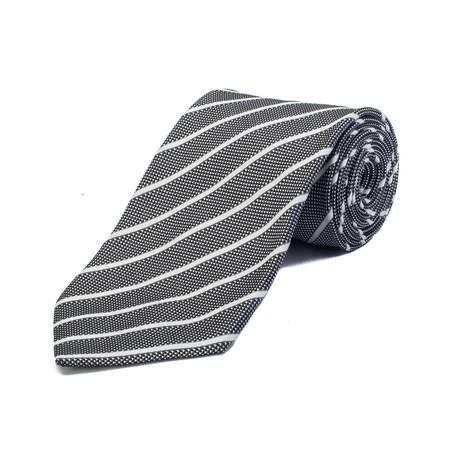 Ermenegildo Zegna // Couture Silk Striped Tie // Black + White
