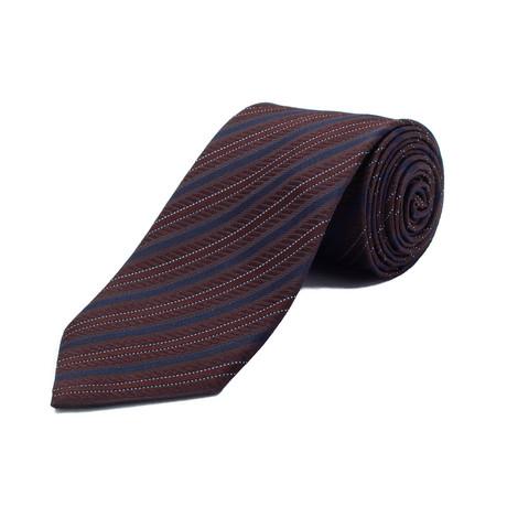 Ermenegildo Zegna // Silk Striped Tie // Brown + Blue