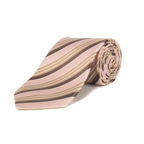 Ermenegildo Zegna // Silk Striped Tie // Pale Pink