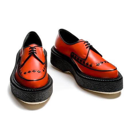 Davon Leather Creeper // Orange + Black (Euro: 39)