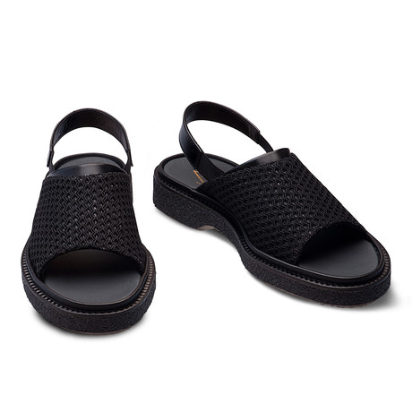 Hunter Fishnet + Leather Sandal // Black (Euro: 39)