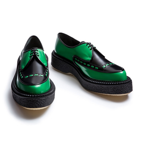 Davon Leather Creeper // Green + Black (Euro: 39)