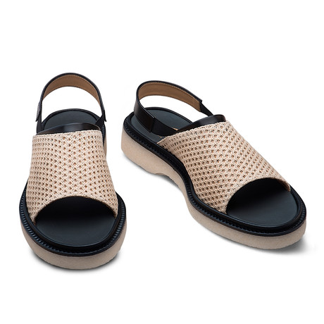 Hunter Fishnet + Leather Sandal // Natural + Black (Euro: 39)