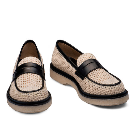 Jonas Fishnet And Leather Loafer // Natural (Euro: 39)