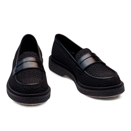 Jonas Fishnet And Leather Loafer // Black (Euro: 39)