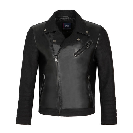 Side-Zip Leather Jacket // Black (S)