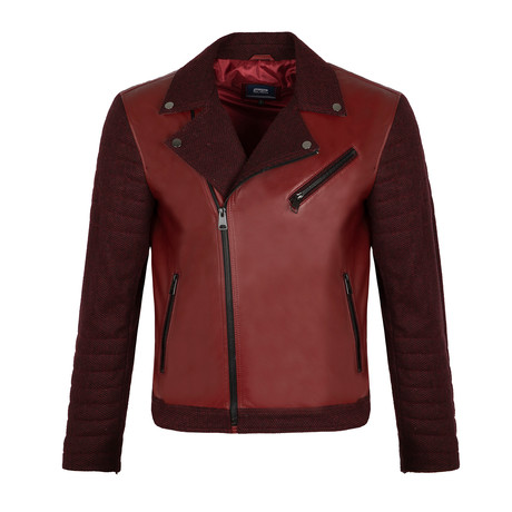Side-Zip Leather Jacket // Bordeaux (S)