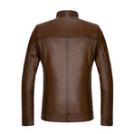 Zip-Up Leather Jacket // Light Brown (S)